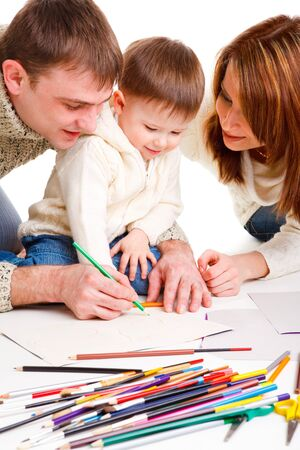 Parents drawing  with  little son photo