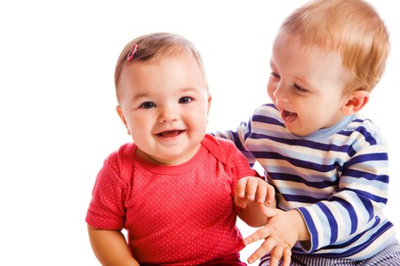 Cheerful babies playing photo