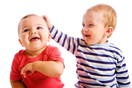 Portrait of cheerful  baby friends photo