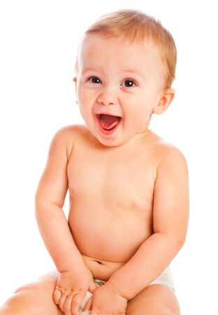 Sweet laughing  baby boy, over white photo