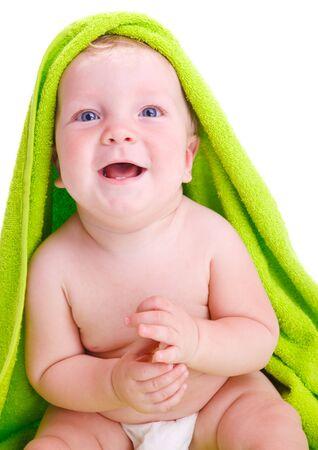 Expressive baby portrait, isolated photo
