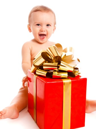 Cheerful  boy with red present box Stock Photo