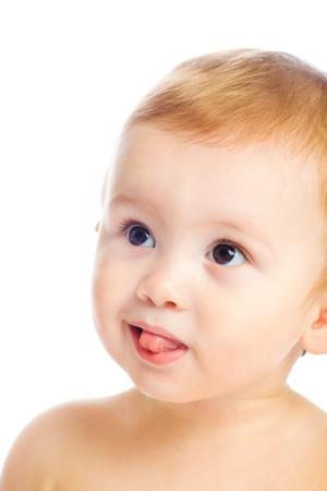 Portrait of a amazed baby boy photo