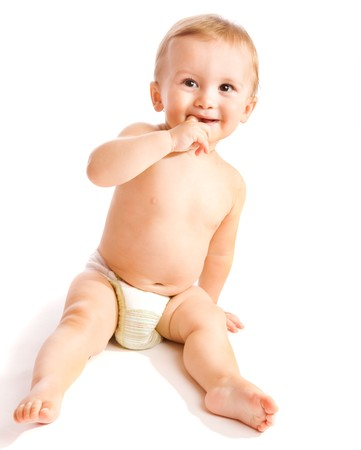 Smiling baby, isolated, over white photo