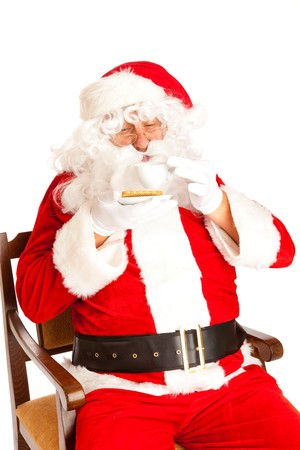 Santa Claus with coffe cup, isolated, on white background photo