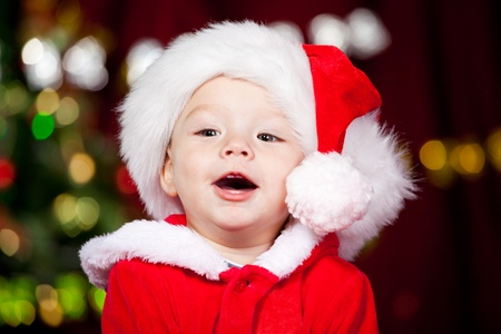 Portrait of a cheerful Santa baby Stock Photo - 8372915