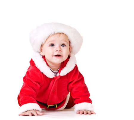 Pretty baby in Santa costume, isolated photo