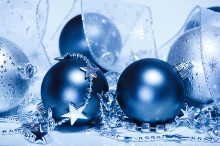 christmas embellishments: Silver and blue Christmas decoration  Stock Photo
