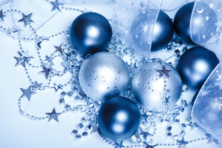 Several Christmas balls shot from top Stock Photo - 8373180
