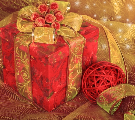 Red Christmas present box photo