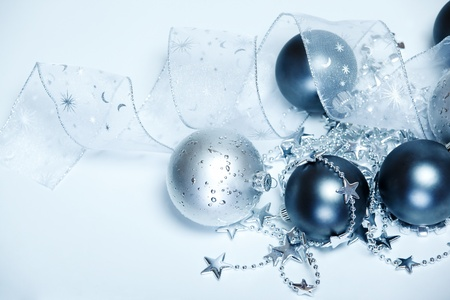 Silver and dark blue Christmas balls  photo
