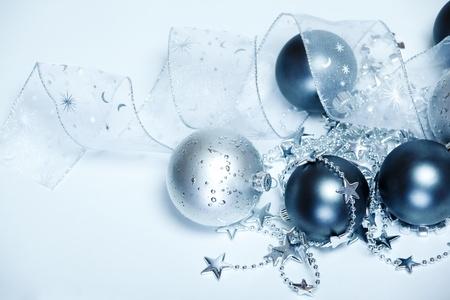 Silver and dark blue Christmas balls  photo