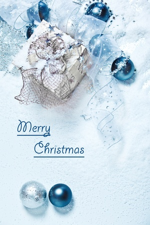Blue and white Christmas card photo