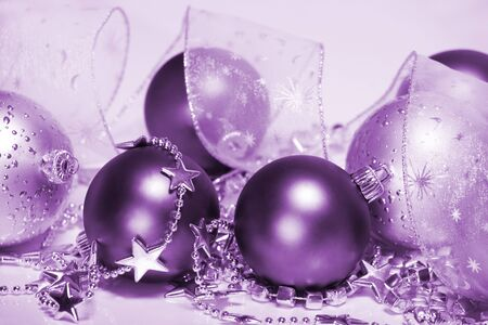Purple Christmas accessories Stock Photo - 8373173