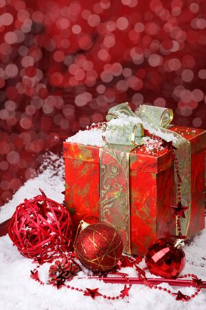 Christmas red  present box and decoration photo