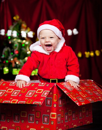 huge christmas tree: Adorable laughing kid in a large present box