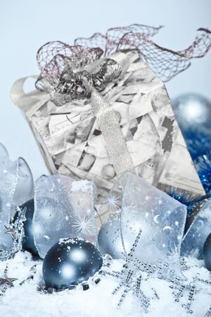Blue Christmas decoration in snow photo