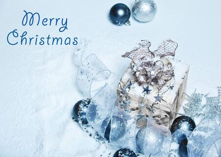 Merry Christmas snowy card Stock Photo - 8373233