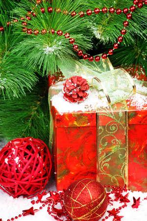 Christmas tree, gift, balls, stars and cone photo