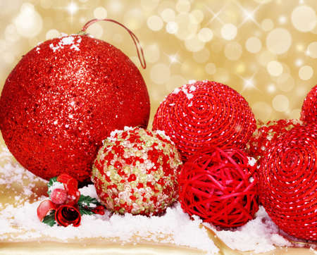 Christmas balls of different sizes photo