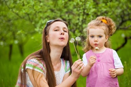 blowing dandelion: Madre e riccio ragazza spazzare via il dente di Leone