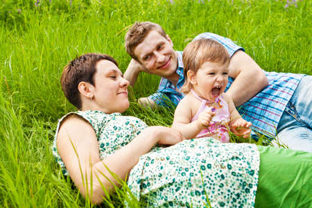 Healthy leisure time for young family photo