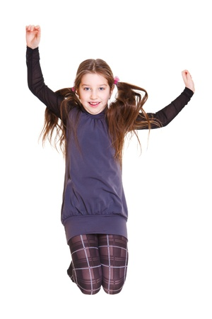 Happy kid jumping, over white Stock Photo - 8797333