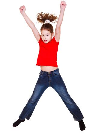 red tshirt: Girl in red t-shirt jumping