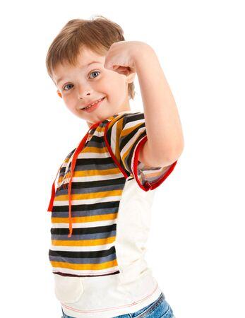 Portrait of a preschool kid demonstrating his strength