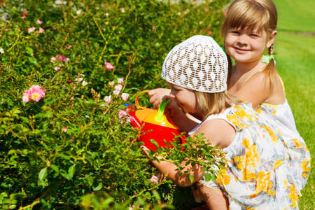 Two preschool girls watering flowers photo