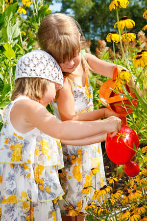 Two sweet kids watering flowers in the garden Stock Photo - 8797336