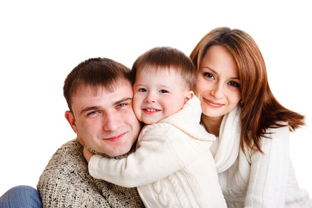 Beautiful young family of three, isolated Stock Photo