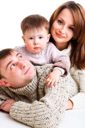 Portrait of a young family photo