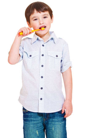 Cute boy brushing teeth Stock Photo - 8801501