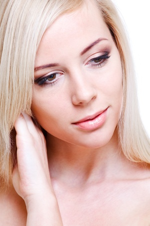 Closeup portrait of a blond tender woman Stock Photo - 8801506