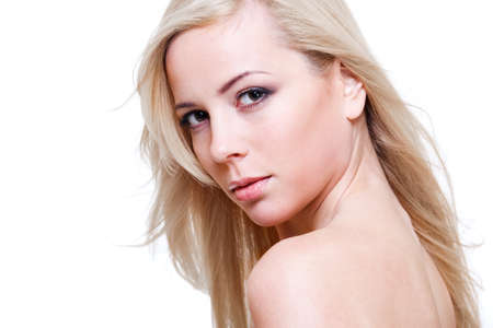 Charming blond young woman, over white photo