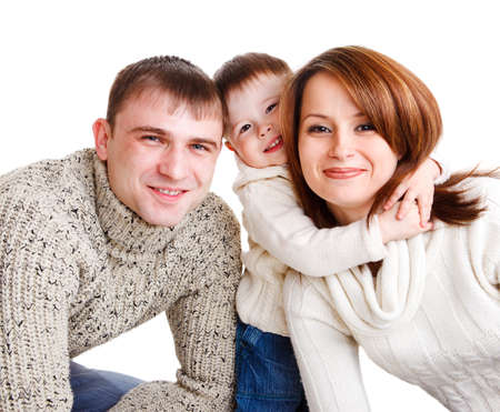 Cheerful young family, isolated photo