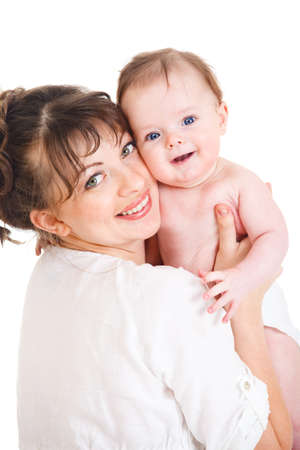 Female holding smiling baby in hands Stock Photo - 9060816