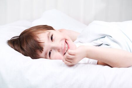 Portrait of a handsome boy awaked Stock Photo - 9060850