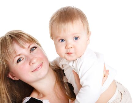 Happy mother holds her cute baby son Stock Photo - 9060843