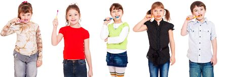 brushing: Five kids cleaning teeth, over white