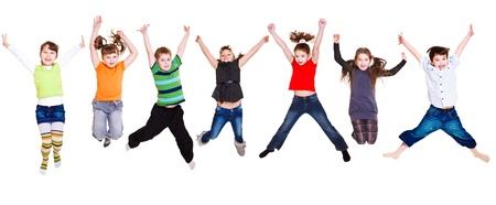 Collection of active junior kids jumping Stock Photo - 9191490