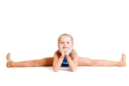 gymnastics: A cheerful young gymnast, isolated