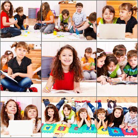 learning computer: Collezione di actiity di studenti junior - lettura, contando, studiando, arti e mestieri