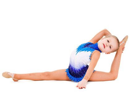 A beautiful young gymnast, isolated photo