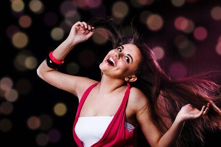 Teenage happy  girl, dancing photo