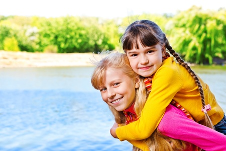 Two girls in the park photo