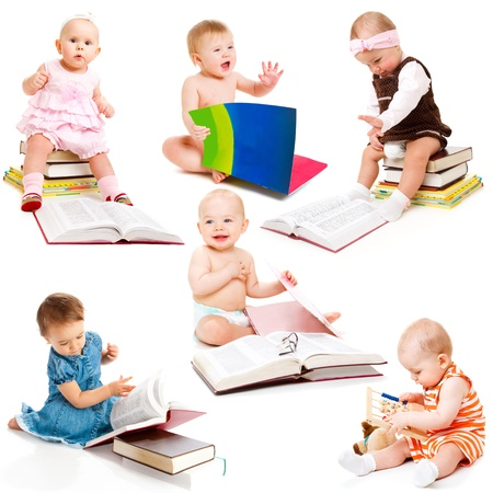 surprised baby: Set of six intelligent babies Stock Photo
