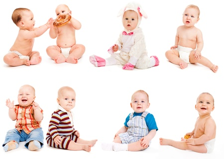 young diapers: Eight babies sitting, over white Stock Photo