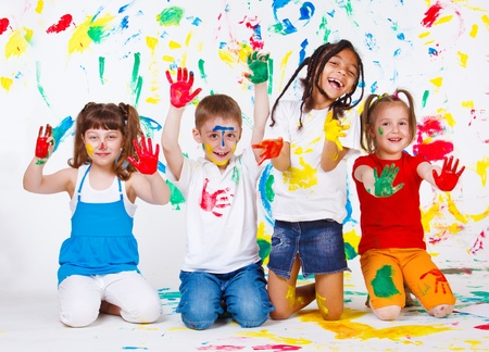 preschool: Playful children paited all over